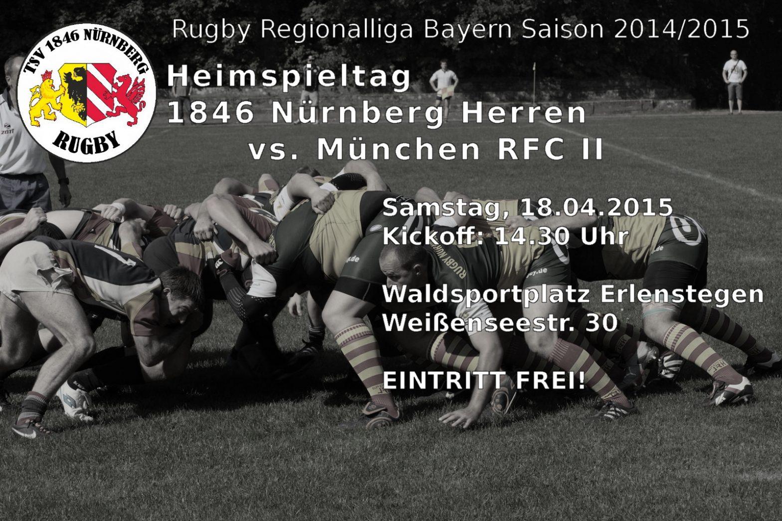 Heimspiel am Samstag! Rugby Regionalliga Bayern – TSV 1846 Nürnberg (Herren) vs. München RFC II