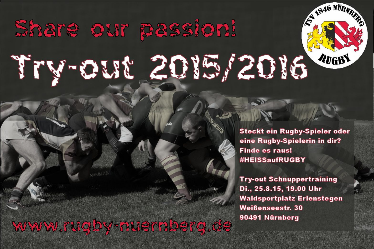 Rugby Try-Out Training am 25.08. in Erlenstegen